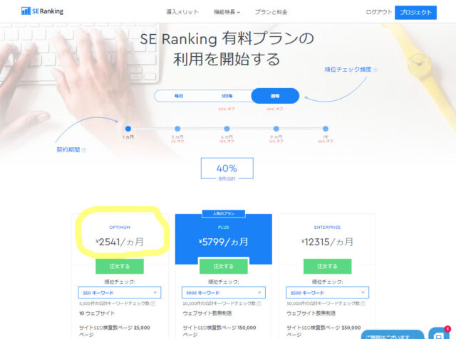 SE Rankingは、日本円で月額2500円ぐらいから導入できてSEO対策ツールに必要な機能も豊富